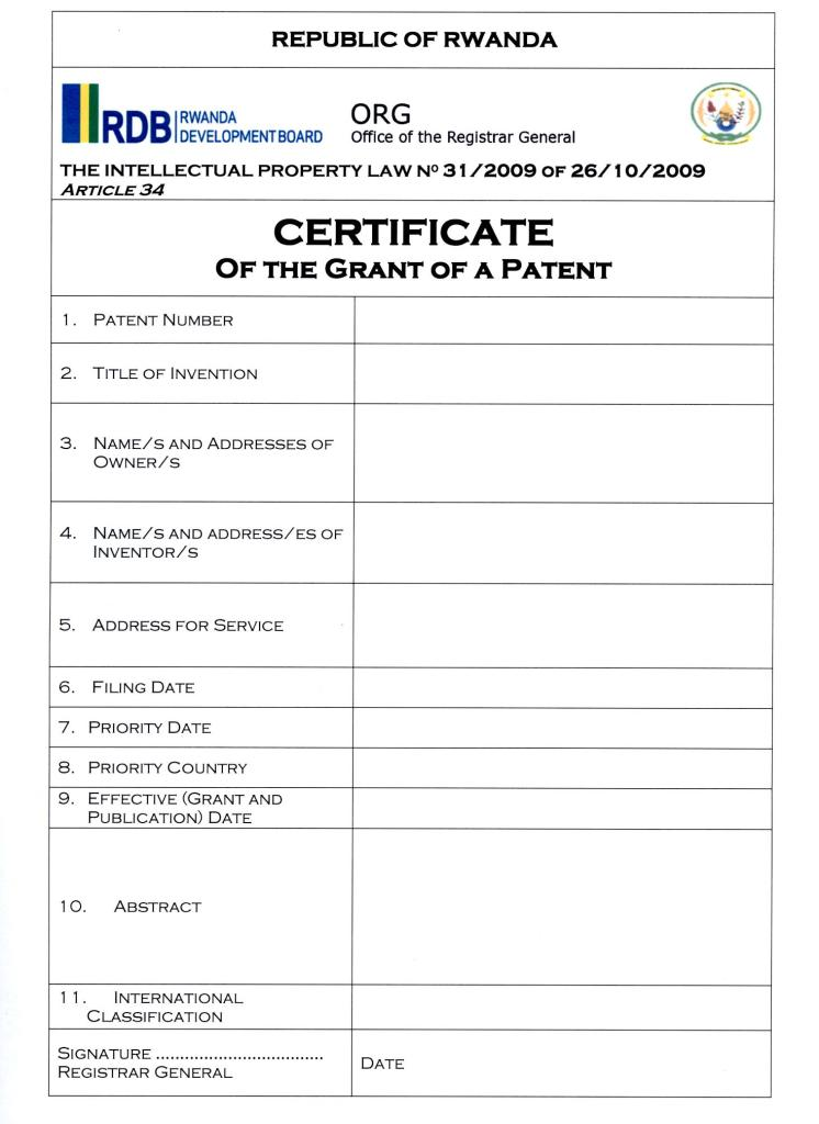 patent certificate template 12 patent application templates free