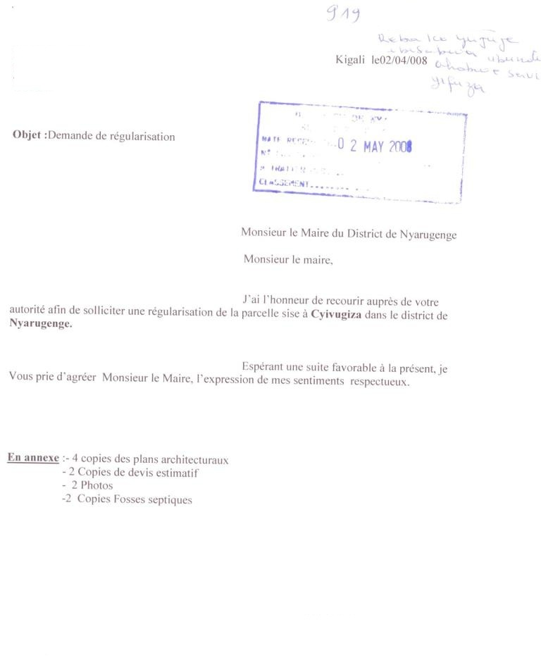 Business procedures in rwanda stamped emphyteutic lease request letter yadclub Image collections
