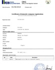 Certificate of domestic company registration