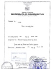 Certificate of incorporation of the holding company