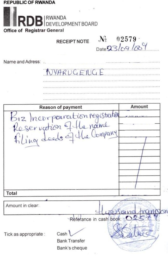 Business Procedures in Rwanda – Company Receipt