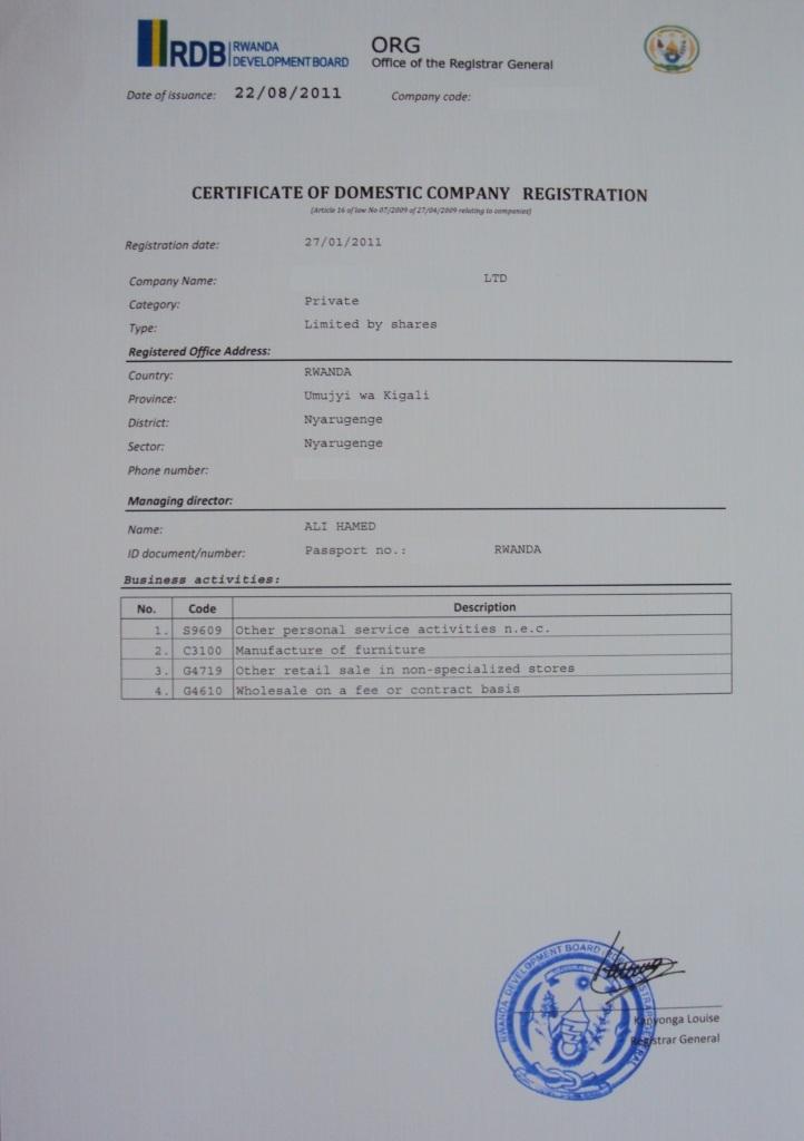 Business procedures in rwanda 01 libre deuda de patente certificate of domestic company registration yelopaper Image collections