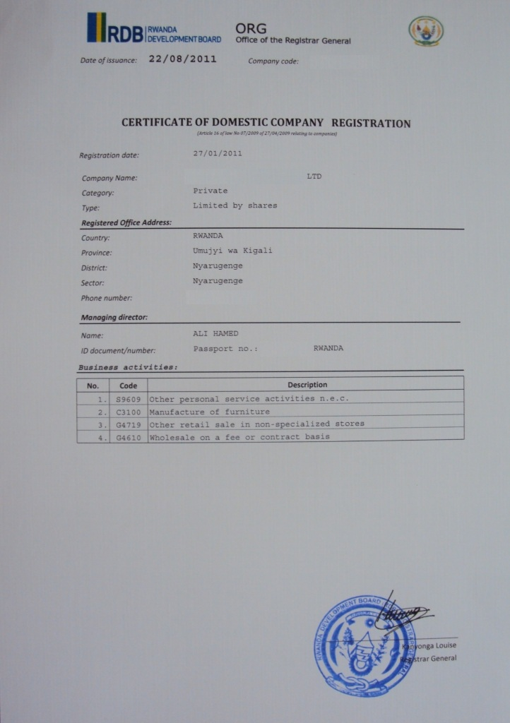 Business procedures in rwanda certificate of domestic company registration 01 certificate of domestic company registration yelopaper Image collections