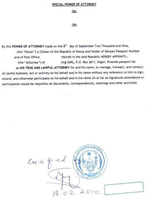 power of attorney form kenya  Business Procedures in Rwanda